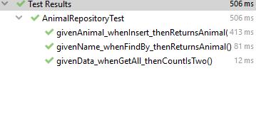 Выполненные тесты (здесь получилось сначала добавление строки, потом подсчет строк)